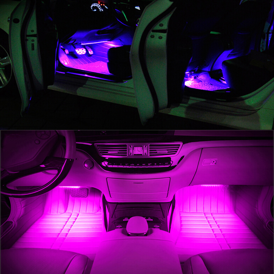 1 set car interior decor atmosphere 4x 9 led lights car decoration lamps dc 12v ebay. Black Bedroom Furniture Sets. Home Design Ideas