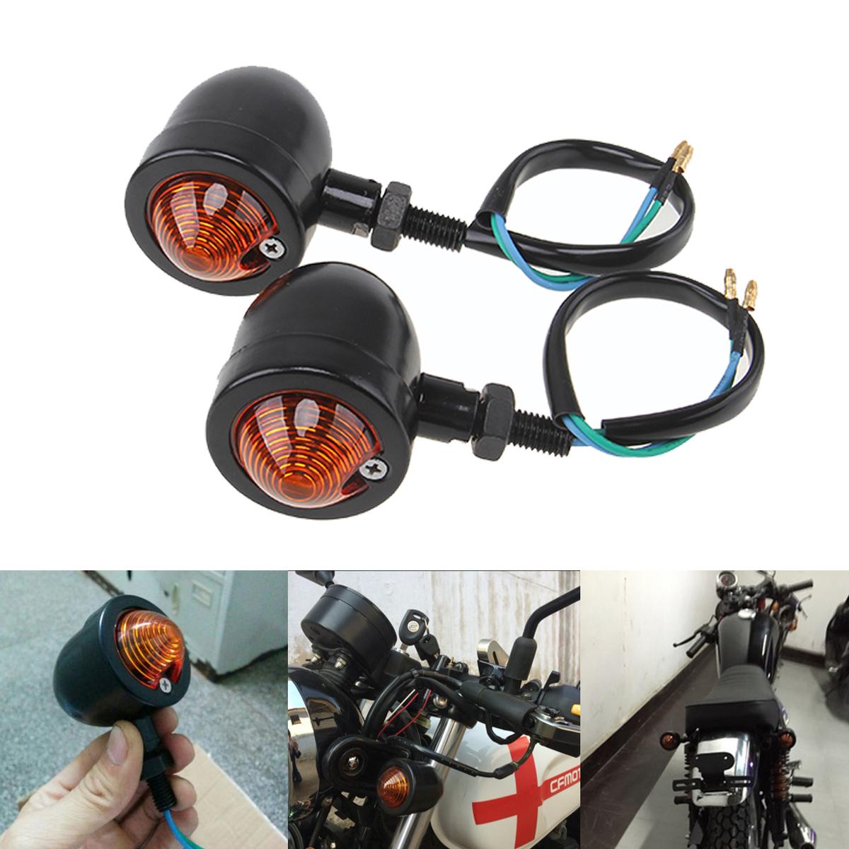 2x black motorcycle bullet turn signals light amber. Black Bedroom Furniture Sets. Home Design Ideas