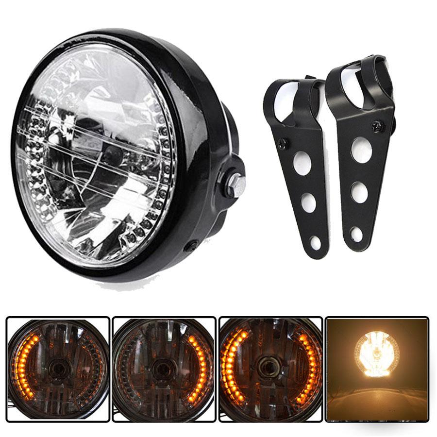 6 5 black motorcycle led turn signal headlight bracket. Black Bedroom Furniture Sets. Home Design Ideas