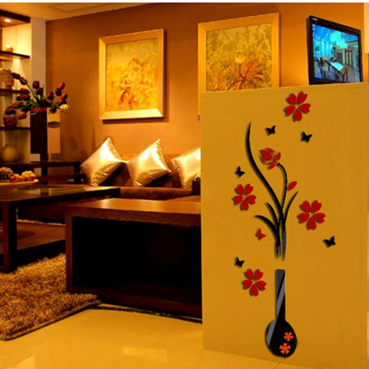 Diy Hallway Wall Decor : Cm hallway flower d mirror wall sticker acrylic tree