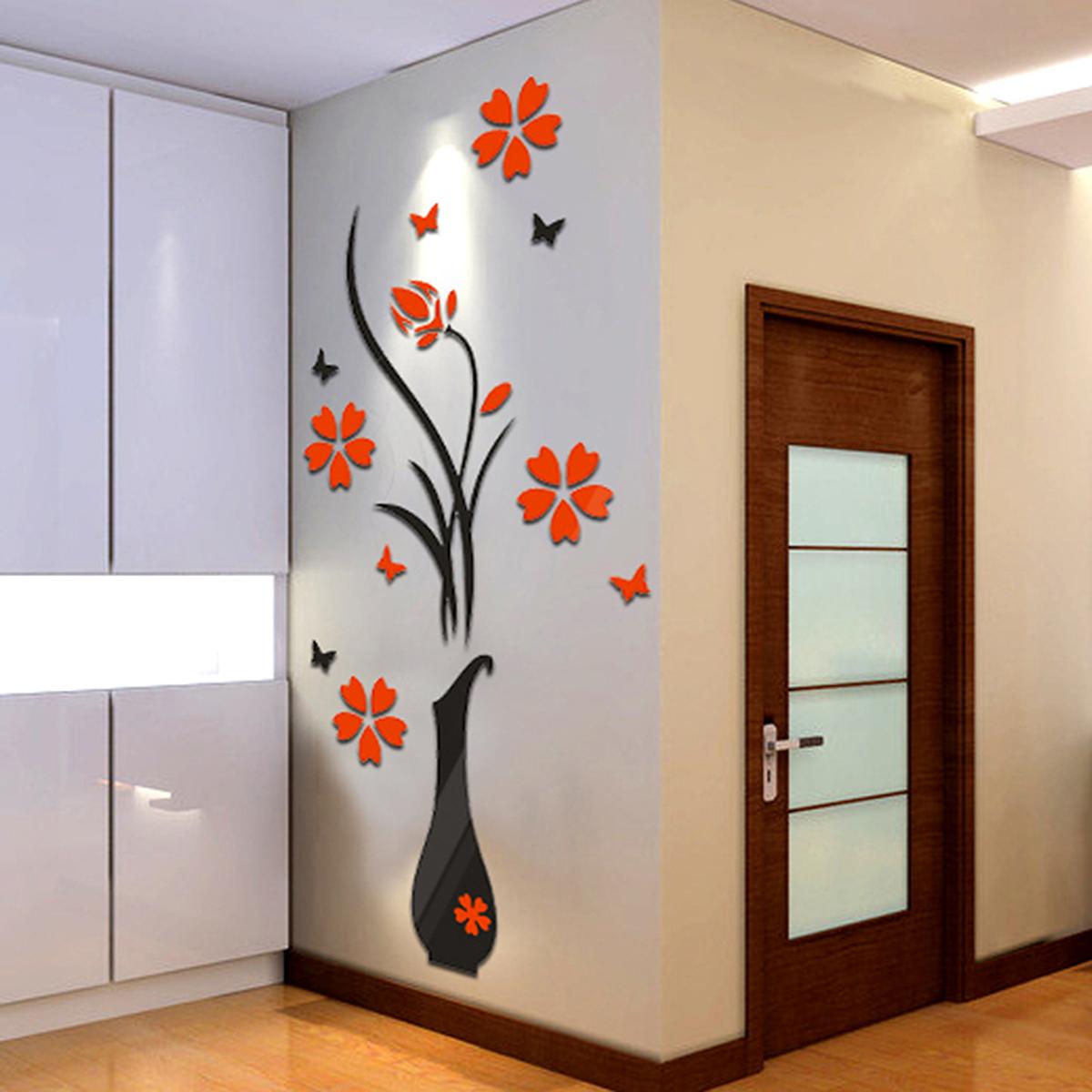 Diy Hallway Wall Decor : S m l room hallway flower crystal d wall sticker acrylic