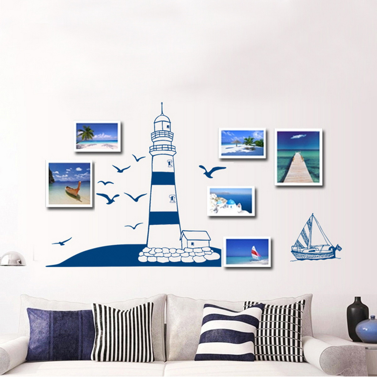 Beach Wall Decor Stickers : Removable child home decals lighthouse at the beach