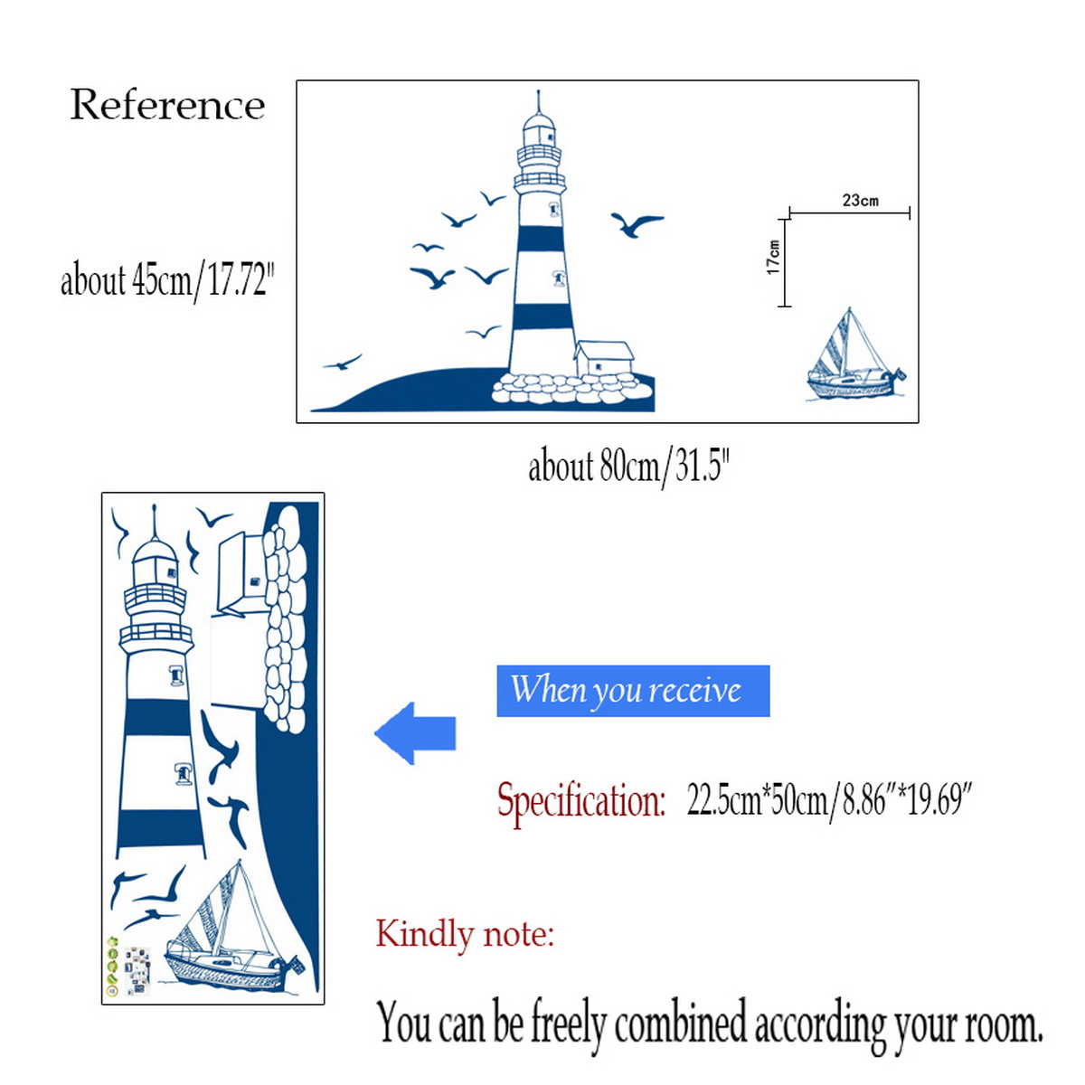 removable child home decals lighthouse at the beach red lighthouse kids seaside colour wall sticker bathroom