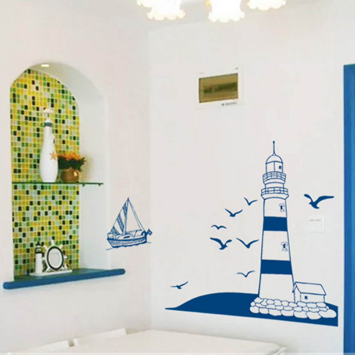 lighthouse birds ocean gull bedroom removable art wall removable child home decals lighthouse at the beach