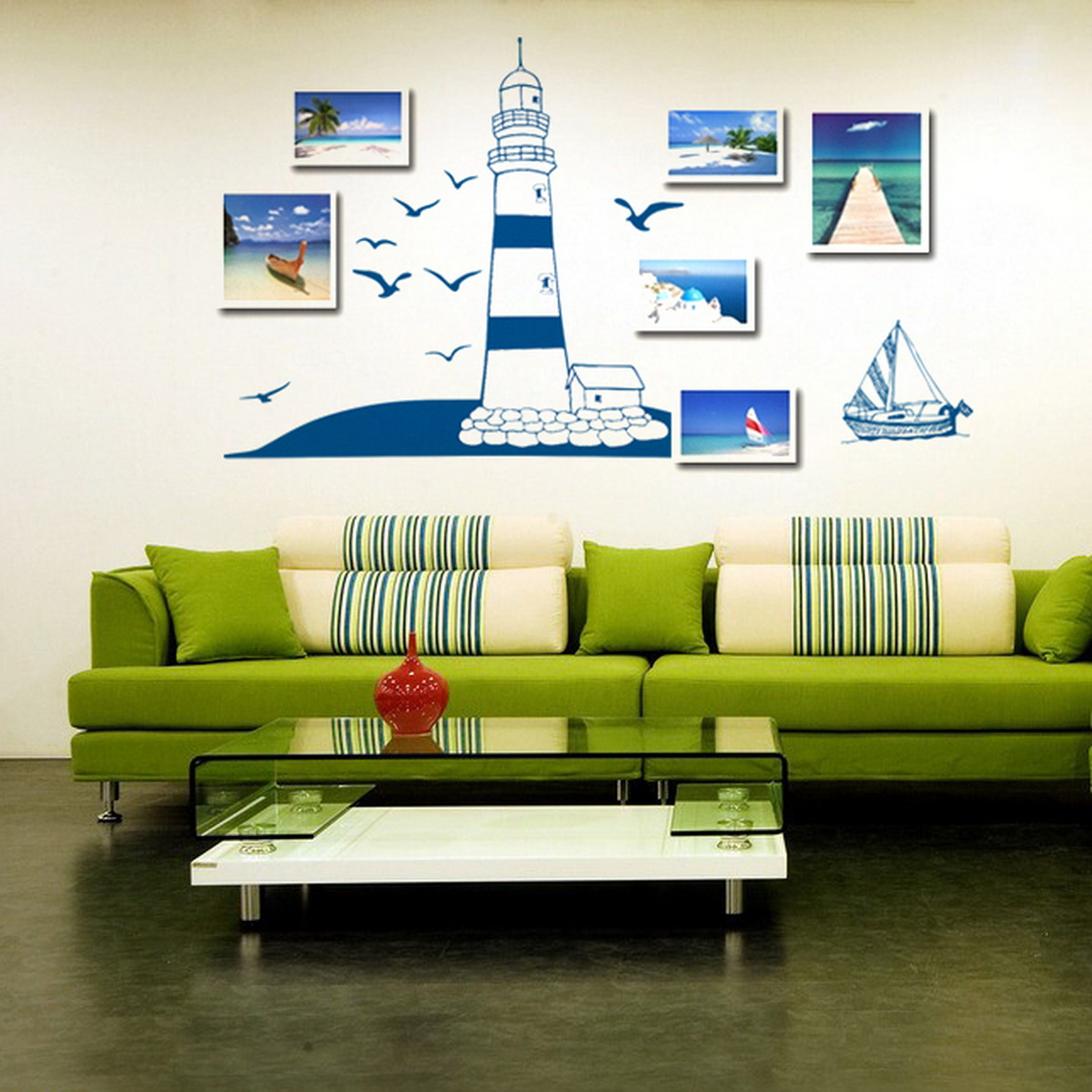 Lighthouse Birds Ocean Gull Bedroom Removable Art Wall ...