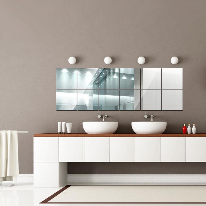 16Pcs Square Mirror Mosaic Tiles Self Adhesive Wall Sticker Bathroom ...