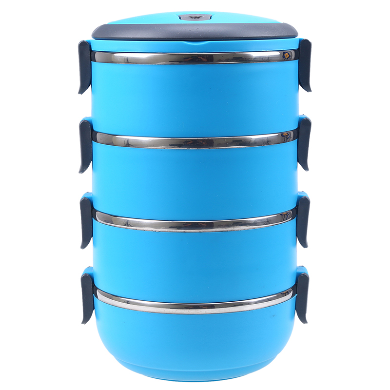 4 layers blue stainless steel insulated thermal lunch box bento food containers ebay. Black Bedroom Furniture Sets. Home Design Ideas