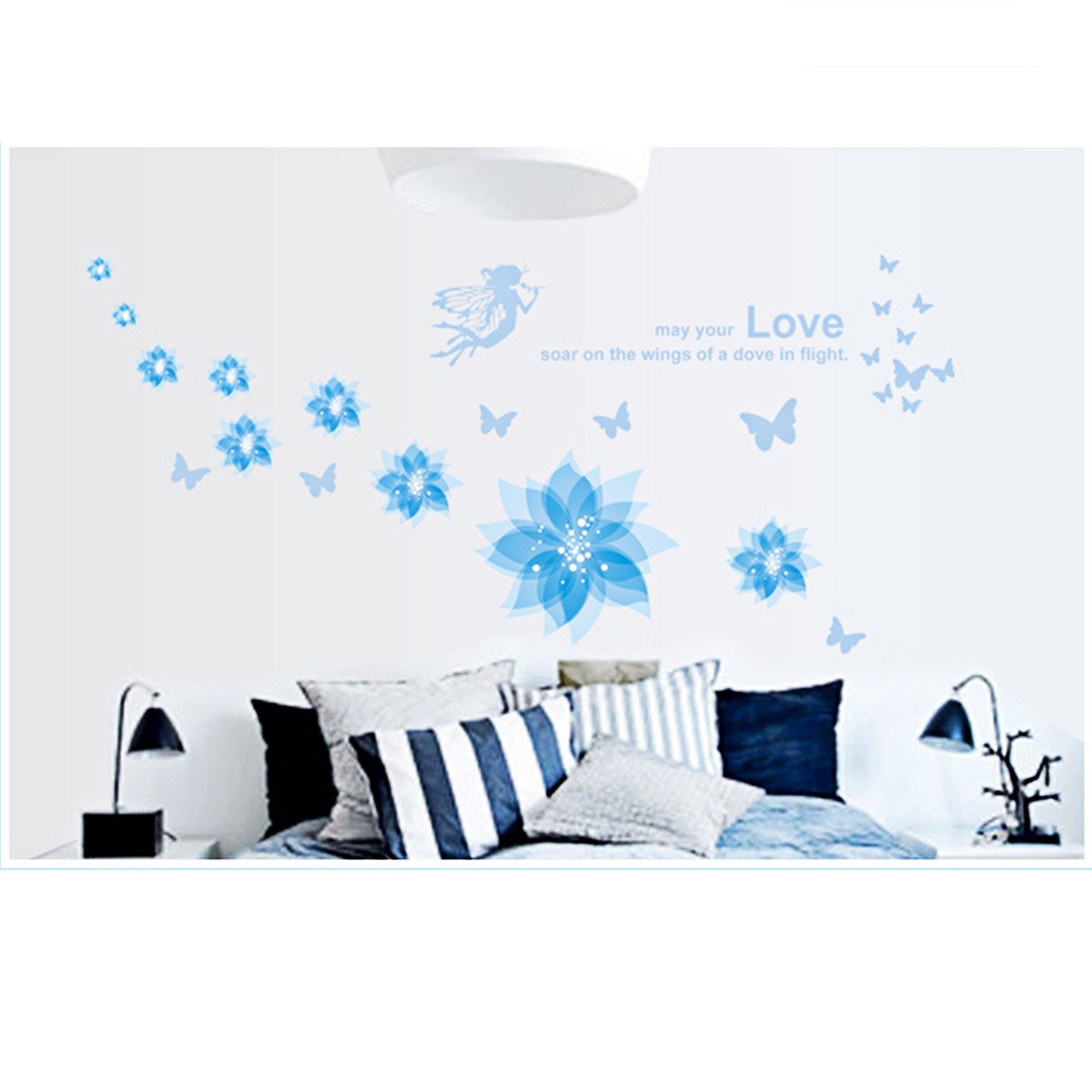 Blue Flowers Elf-C Removable Wall Art Sticker Mural Home