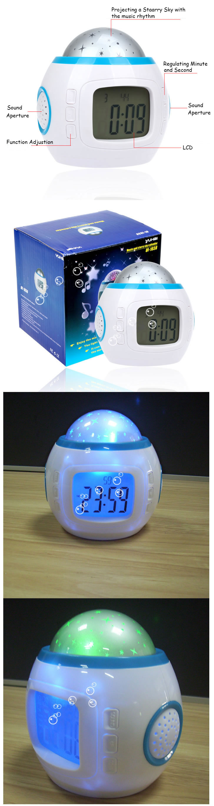 Digital night light projector alarm clock for kids room starry music thermometer ebay - Timer night light for toddlers ...