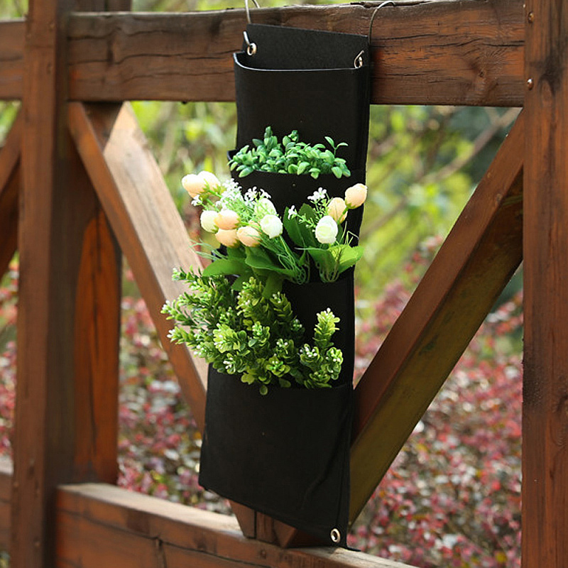 4 pockets vertical wall mounted garden balcony hanging for Balcony hanging planter