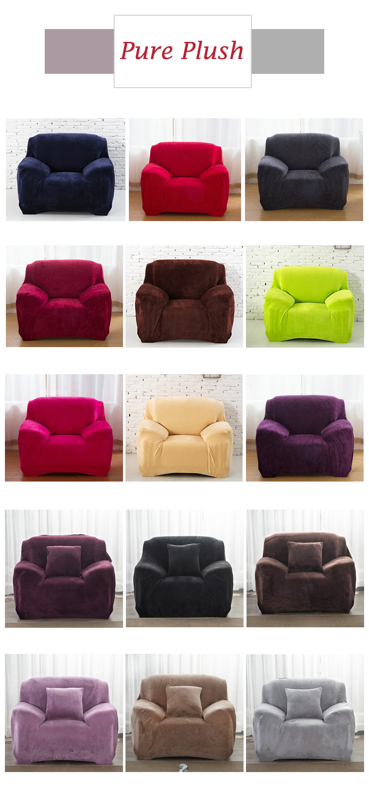 Solid Pure Colour Poly / Plush Stretch Couch Sofa Cover Protector 1 2 3 4 Seater : eBay