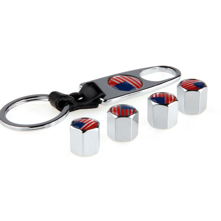 4x Us America Flag Pattern Car Wheel Tire Tyre Valve Stem Caps Screw W Key Chain Ebay