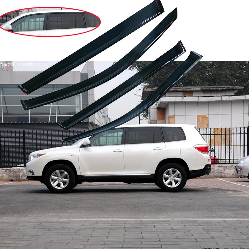 For 08-13 Toyota Highlander Window Visors Vent Rain Guards Wind ... 383749a8ef3