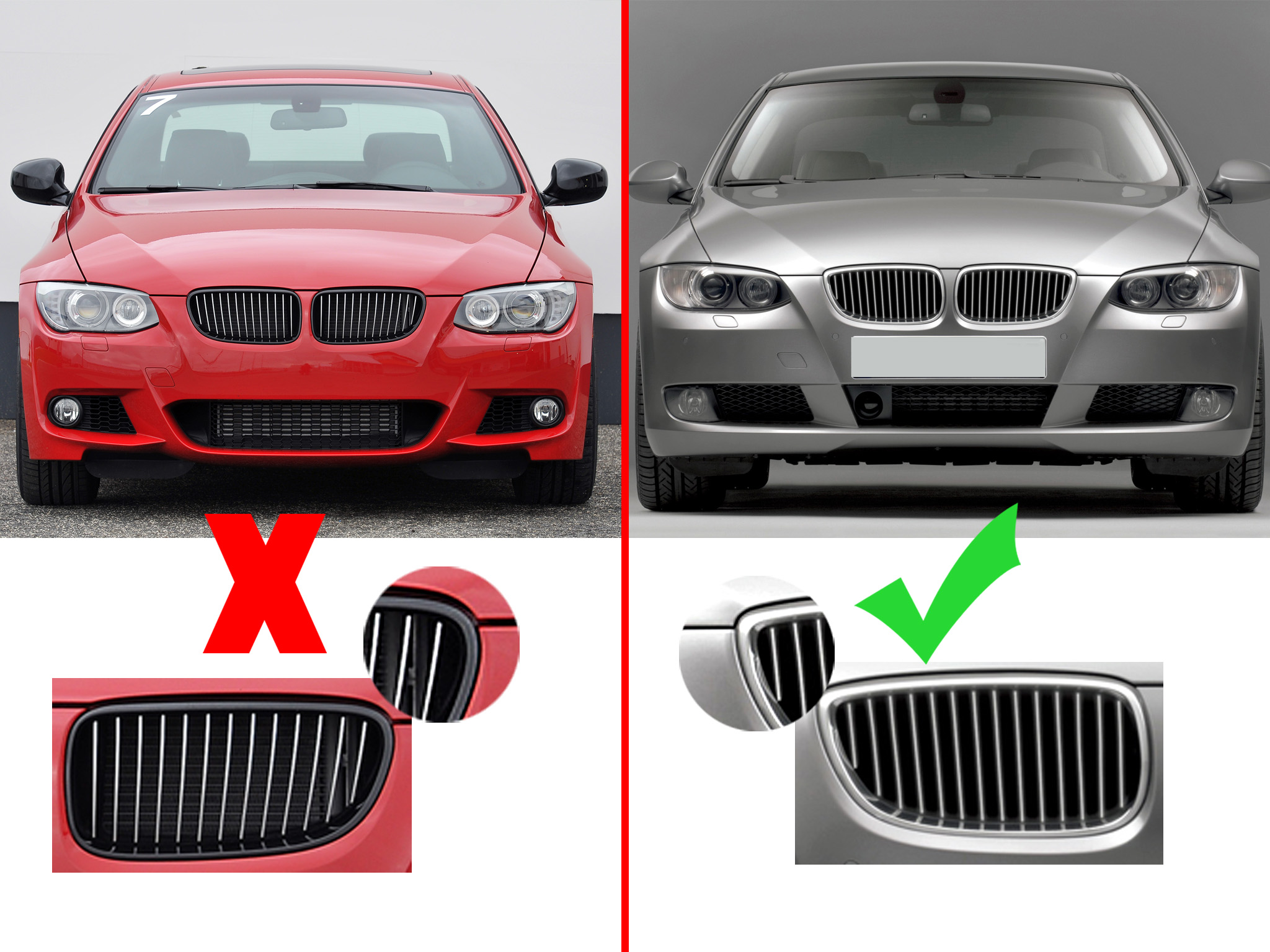 Details about Chrome Plating Front Bumper Grille Grill for BMW E92 E93 M3  328i 335i 2007-2011