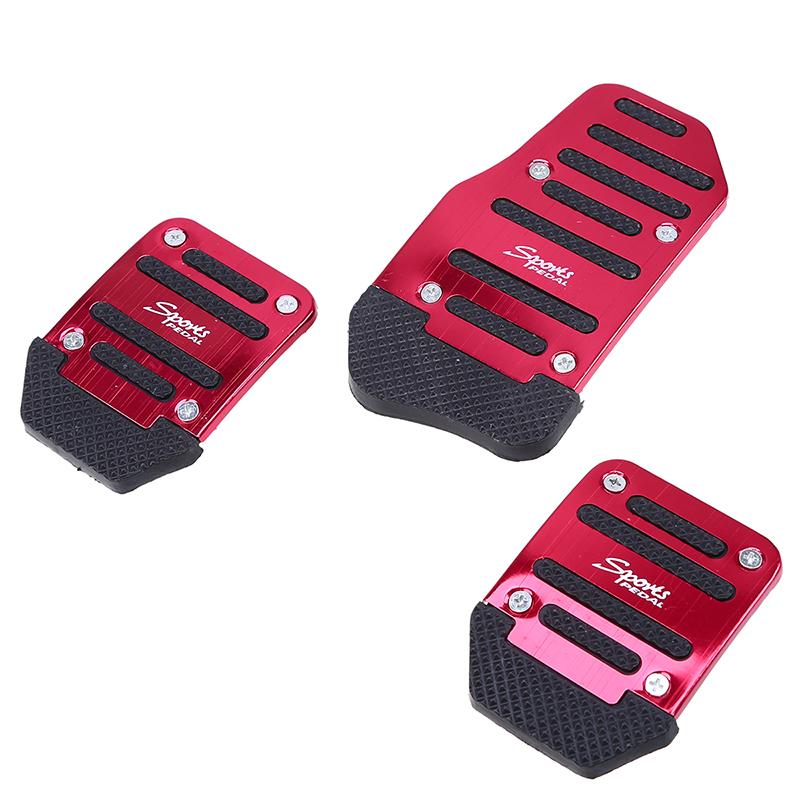3 Pcs Red Aluminium Alloy Racing Sports Manual Automobiles Non-Slip Foot Pedals