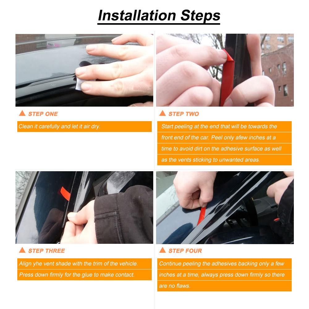 FOR MITSUBISHI MIRAGE HATCHBACK 13-18 Tape-On Vent Window Door Side Visor Guard