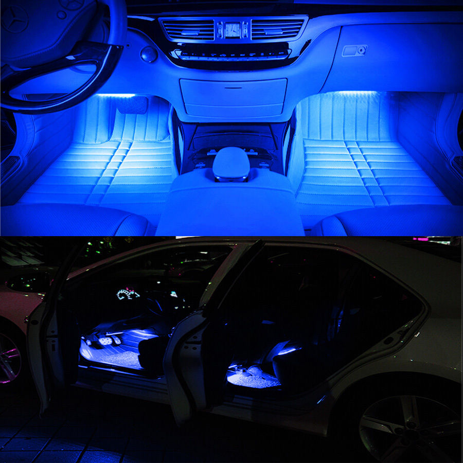 4in1 led strip car suv interior atmosphere decorative light neon lamp bulbs 12v ebay. Black Bedroom Furniture Sets. Home Design Ideas