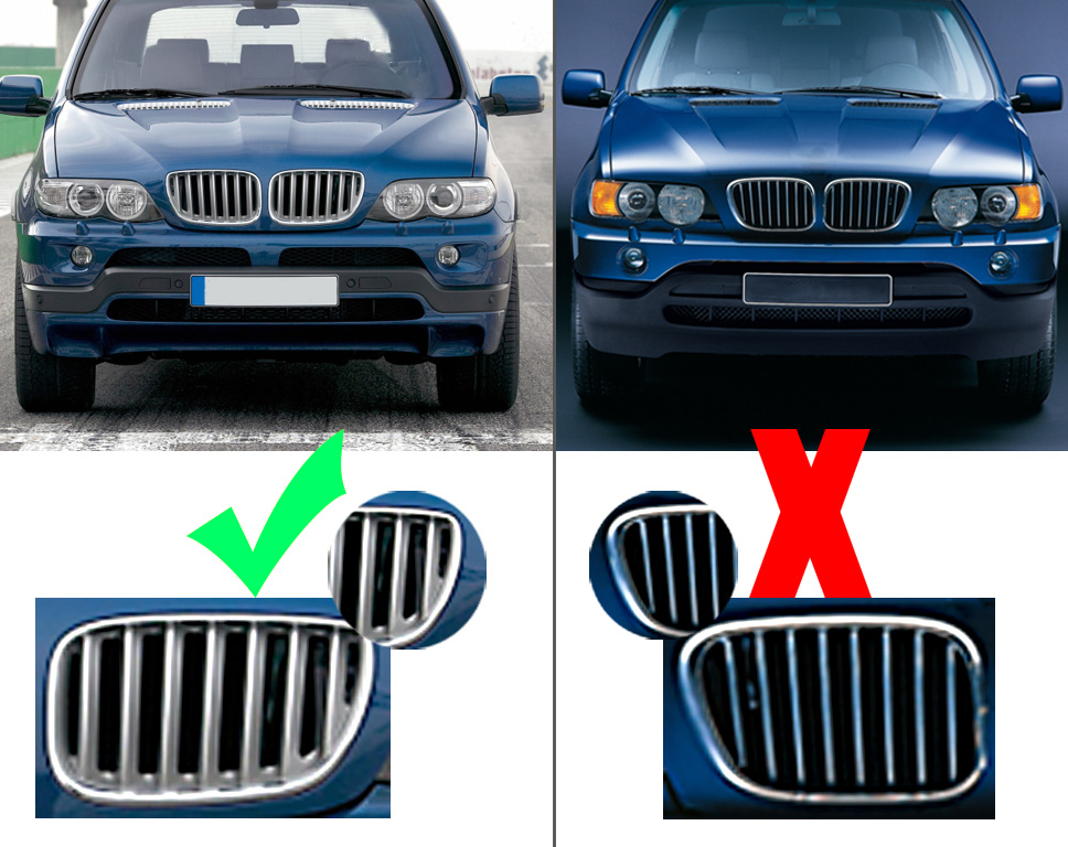 For Bmw X5 E53 2004 2005 2006 Hood Front Kidney Grills
