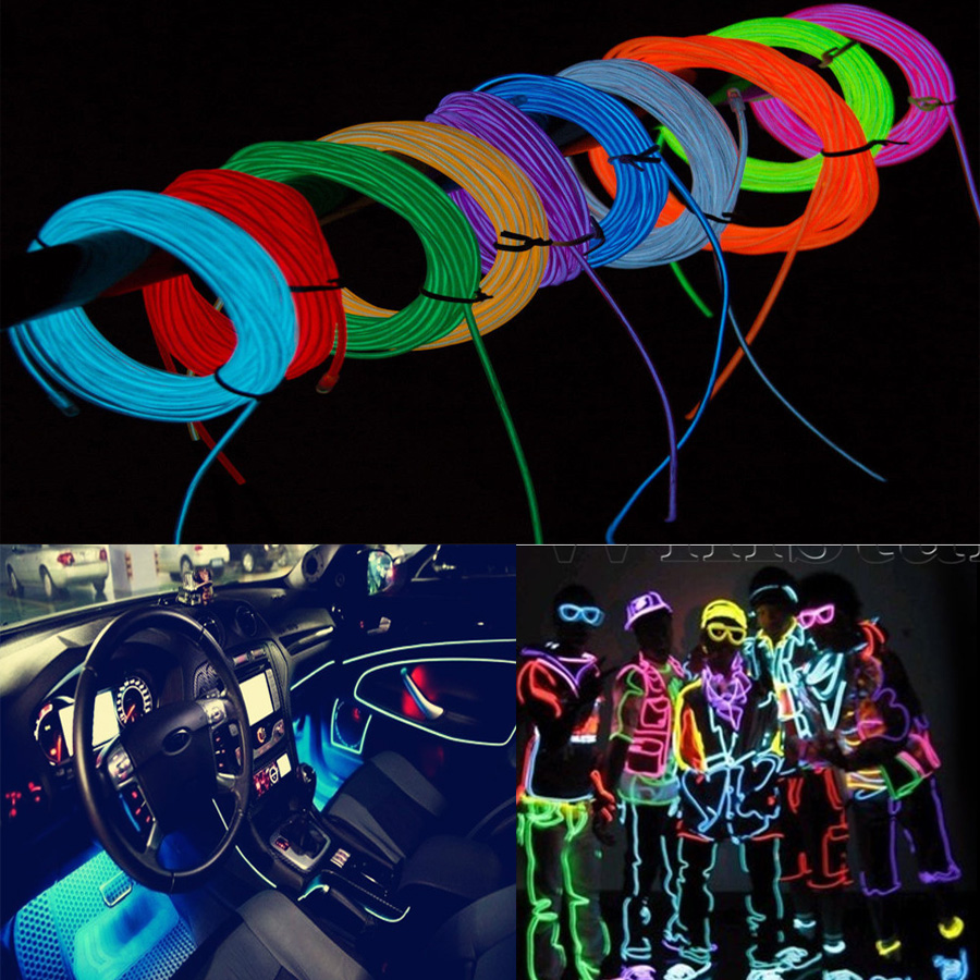 1M 12V LED Flexible Neon Light Glow EL Wire Rope Tube Car/Room ...