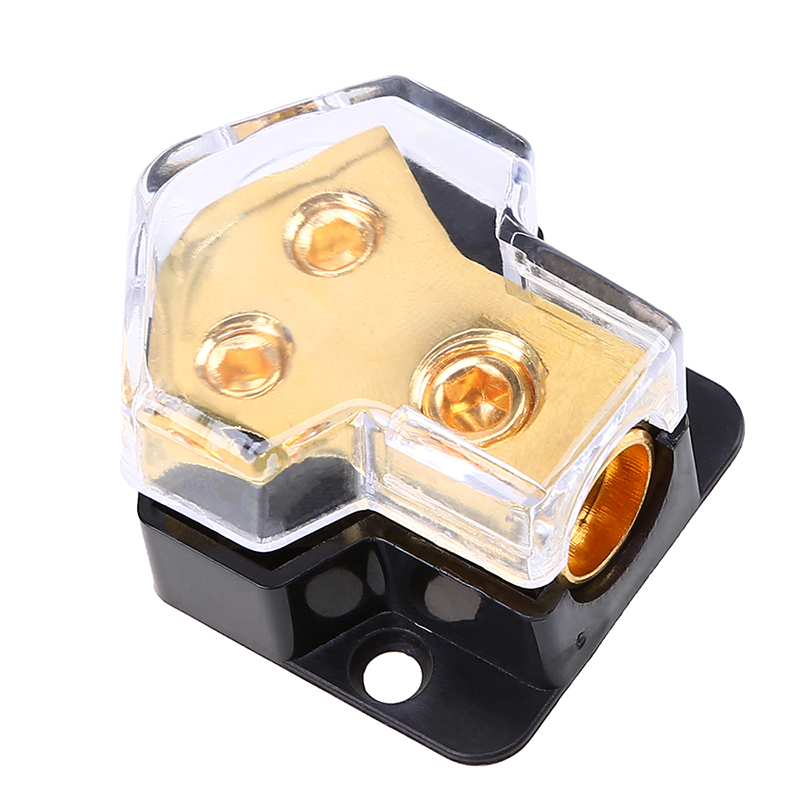 Car Audio 1 In 2 Out Power Distributor Block Plastic Copper Fuse Holder Golder
