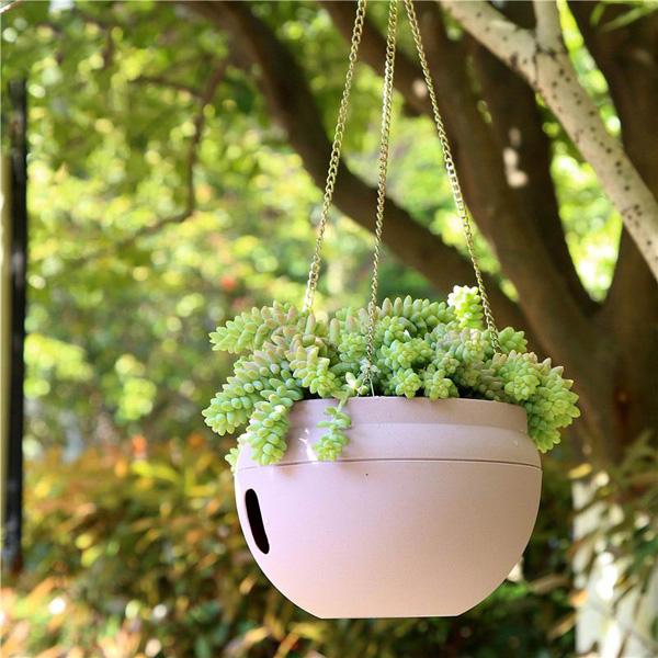 Resin hanging flower plant pot basket garden planter home for Balcony hanging planter
